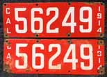 1914 California License Plates