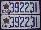 1919 California License Plates