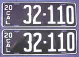 1920 California License Plates