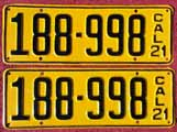 1921 California License Plates