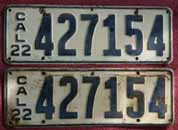1922 California License Plates