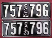 1923 California License Plates