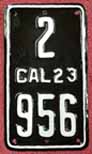 1923 California Motorcycle License Plate