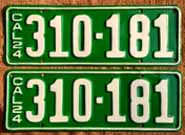 1924 California License Plates