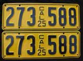 1925 California License Plates