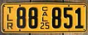 1925 California Trailer License Plate