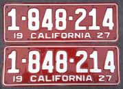 1927 California License Plates