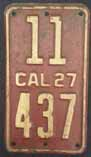 1927 California Motorcycle License Plate