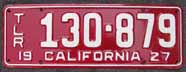 1927 California Trailer License Plate