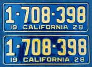 1928 California License Plates