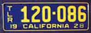 1928 California Trailer License Plate