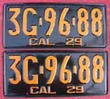 1929 California License Plates