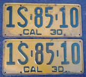 1930 California License Plates