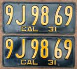 1931 California License Plates