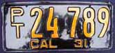 1931 California Trailer License Plate