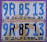 1932 California License Plates