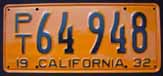 1932 California Trailer License Plate