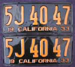 1933 California License Plates