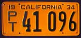1934 California Trailer License Plate