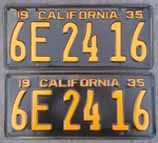 1935 California License Plates