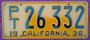 1936 California Trailer License Plate