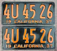 1937 California License Plates