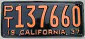 1937 California Trailer License Plate