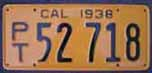 1938 California Trailer License Plate