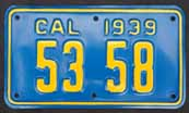 1939 California Motorcycle License Plate