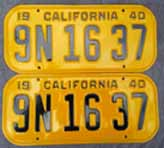 1940 California License Plates