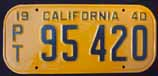1940 California Trailer License Plate