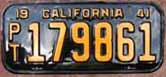 1941 California Trailer License Plate