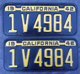 1942 California License Plates