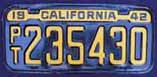 1942 California Trailer License Plate
