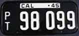 1945 California Trailer License Plate