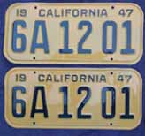 1947 California License Plates