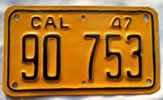 1947 California Motorcycle License Plate
