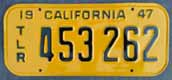 1947 California Trailer License Plate