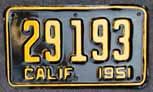 1951 California Motorcycle License Plate