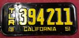1951 California Trailer License Plate