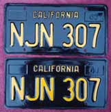 1963 California License Plates